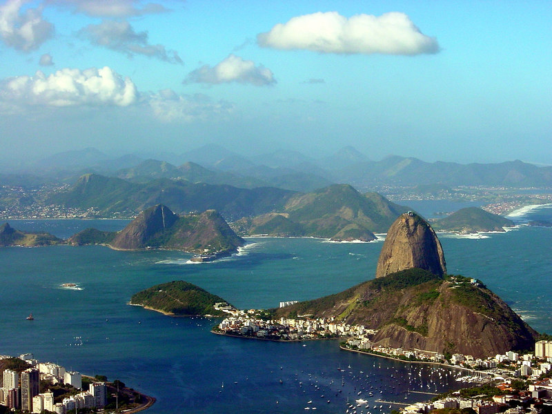 Guanabara bay with the Sugarloaf in the foreground, Rio de Janeiro, Brazil.