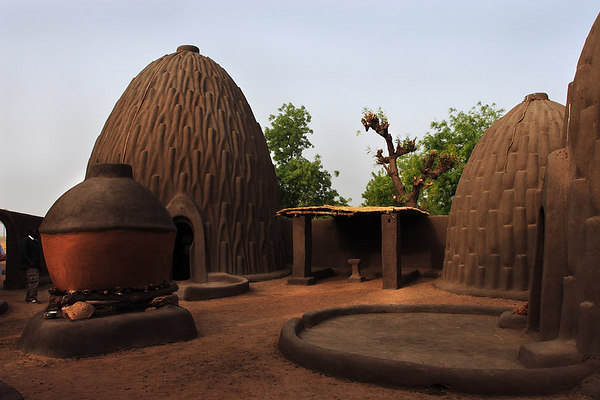 Traditional dome shaped houses from the Mousgoum people, Pouss, Extreme-North, Cameroon.