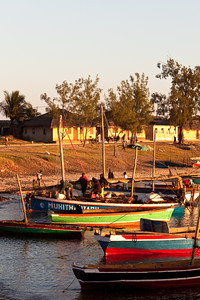 Dhows at sunrise at Ilha de Mozambique, Mozambique.