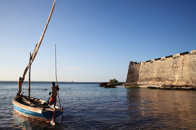 Dow and fortress at Ilha de Mozambique, Mozambique.