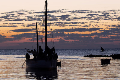 Dhow at sunrise at Ilha de Mozambique, Mozambique.