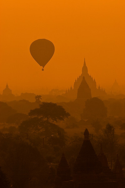 Golden skyline from the 12th century AD, Bagan, Myanmar.