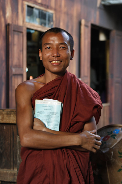 "Nanda, a monk from the ""Jumping cat"" monastery, Inle lake, Myanmar."