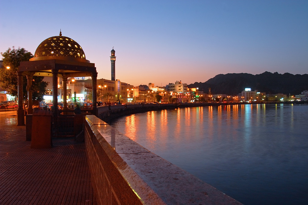 Arabic skyline at sunset, Muscat, Sultanate of Oman.