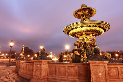 Large fountain at the Concorde square, Paris, France.