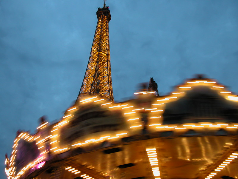 Eiffel tower and caroussel, Paris, France.
